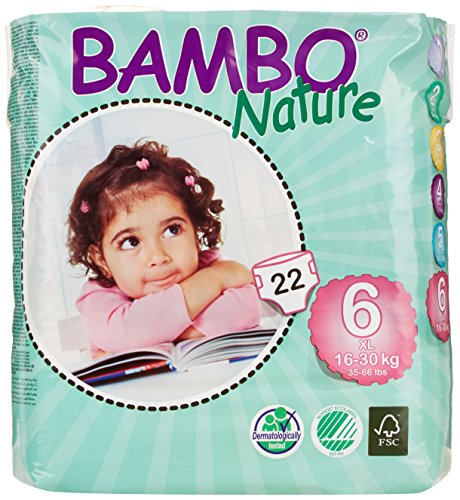 Bambo Nature Premium Baby Diapers, X-Large, Size 6, 22 Count (Pack of 6) (One Month Supply)