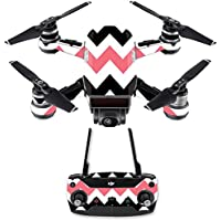 Skin for DJI Spark Mini Drone Combo - Black Pink Chevron| MightySkins Protective, Durable, and Unique Vinyl Decal wrap cover | Easy To Apply, Remove, and Change Styles | Made in the USA