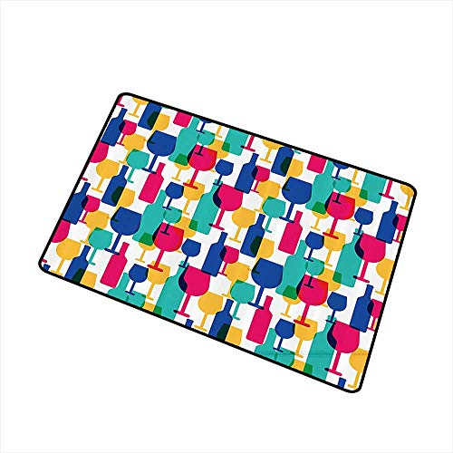 Mdxizc Fashion Door mat Winery Decor Collection Cocktail Glass and Wine Bottle Pattern Bar Menu Party Alcohol Drinks Festive Image W31 xL47 Indoor Outdoor, Waterproof, Easy Clean Magenta Navy]()
