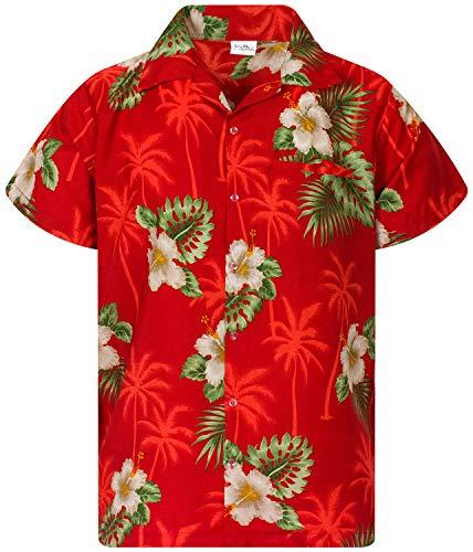 King Kameha Funky Hawaiian Shirt, Shortsleeve, Small Flower, Red, L