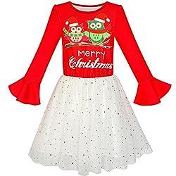 Girls Long Sleeve Christmas Sequin Tulle