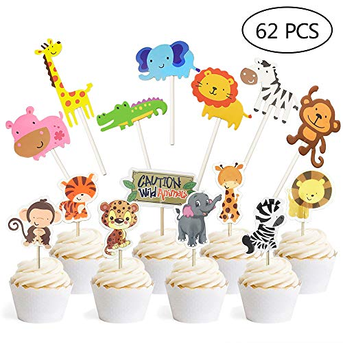 Jungle Safari Animal Cupcake Toppers Picks - 62pcs Animal Theme Party Decorations Zoo Animals Cake Decorations Food Picks Animal Theme Party Supplies for Kids Birthday Baby Shower Animal Theme Party D