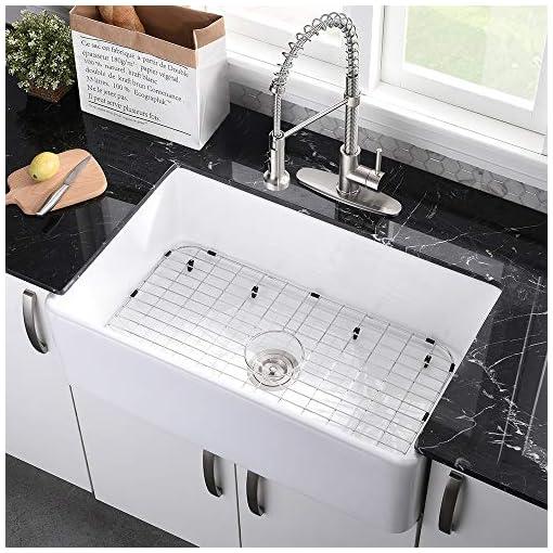Farmhouse Kitchen 33 Farmhouse Sink White-VASOYO 33 Inch White Kitchen Sink Apron Front Fireclay Ceramic Porcelain Deep Single Bowl… farmhouse kitchen sinks