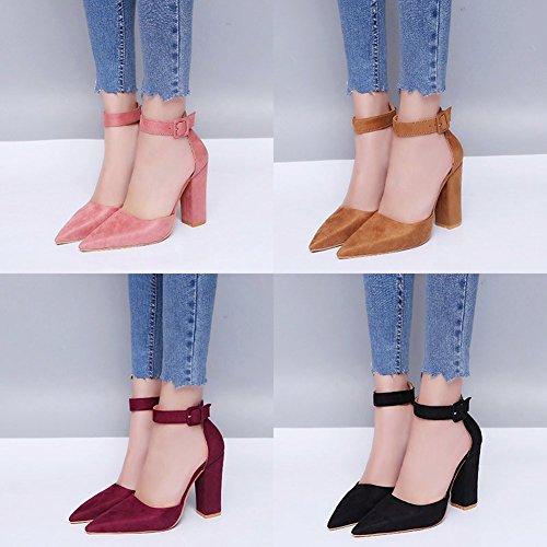 Testa Estate Punta Cachi A Partito Sandali Scarpe Eleganti Blocco Moda Sandals A Beach Minetom Shoes Casuale Donna Tacco 47xHqwOZ