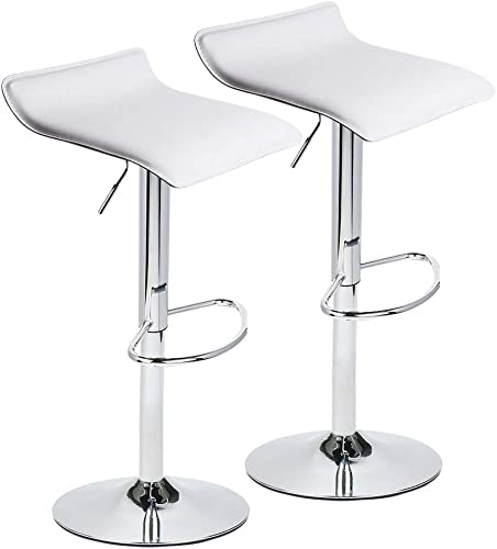 Set of 2 Adjustable Swivel Barstools, PU Leather with Chrome Base, Gaslift Pub Counter Chairs,White