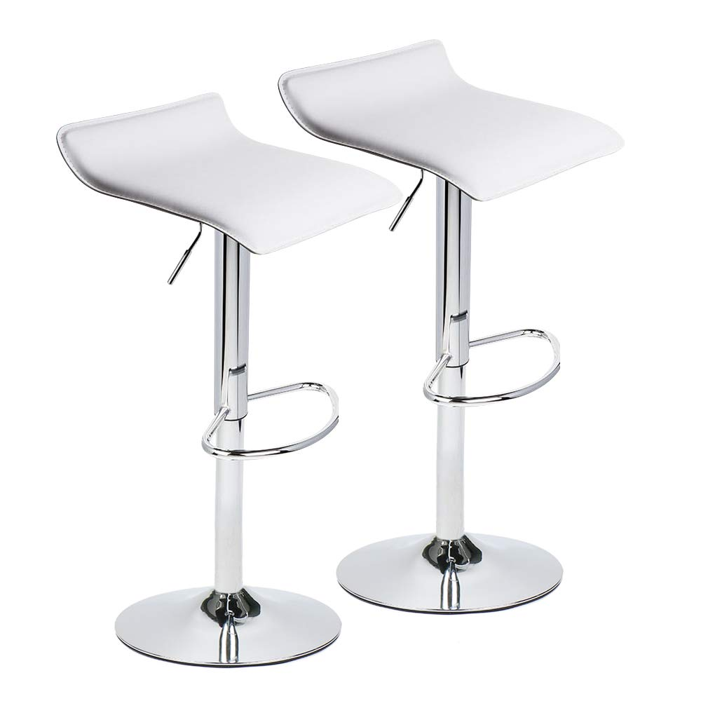 Adjustable Swivel Barstools, PU Leather with Chrome Base, Counter Height Hydraulic Pub Kitchen Counter Chairs,Set of Two,2 white by PULUOMIS