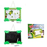 ToyerBee Plastic Tabletop Easel Double-sided Magnetic Chalk Dry Erase Writing and Drawing Board For Kids - Happy Frog
