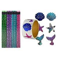 24 Mermaid Tail Pencils + 100 Sparkle Mermaid Stickers