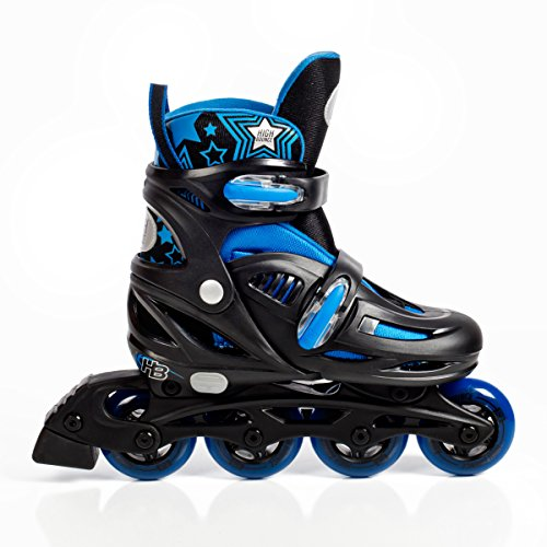 High Bounce Rollerblades Adjustable Inline Skate (Blue, Large (6-9) ABEC 7) (Boys In Line Skates)