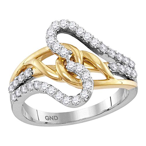 - 10kt Two-tone White Yellow Gold Womens Round Diamond Loop Lasso Band Ring 1/2 Cttw