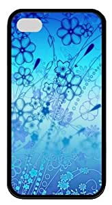 blue flowers pc Black Case for iphone 4S/4