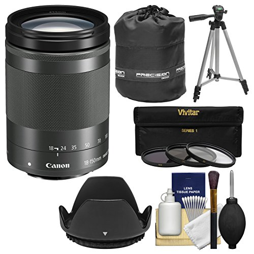Canon EF-M 18-150mm f/3.5-6.3 IS STM Zoom Lens (Graphite) with Pouch + Tripod + 3 UV/CPL/ND8 Filters + - Stabilizer Kit Graphite