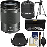 Canon EF-M 18-150mm f/3.5-6.3 IS STM Zoom Lens (Graphite) with Pouch + Tripod + 3 UV/CPL/ND8 Filters + Kit