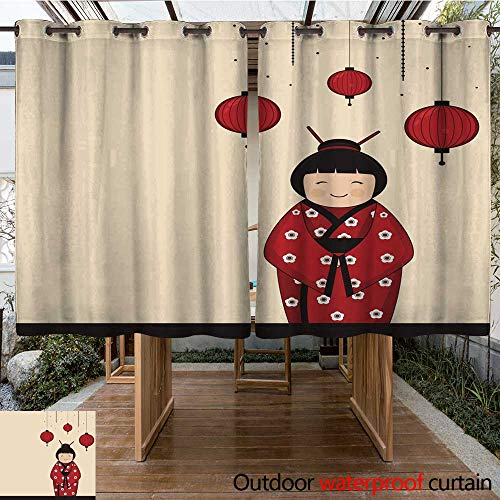 Home Patio Outdoor Curtain Japanese Kokeshi Doll with Hanging Lanterns W55 x ()