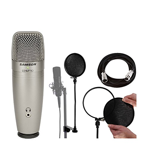 Samson C01U Pro USB Studio Condenser Microphone + On Stage Mic Cable + On Stage Pop Blocker w/ Replacement Liners + On Stage Pop Blocker Replacement Filters + Ultimate Microphone Bundle