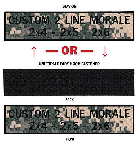 (Custom 2 Line Morale Name Tapes with Border, Over 30 Fabrics to choose! Made in USA!! Foliage Digital, 2