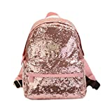 Meliya Fashion Bling Sequin Backpack Cute Paillette Casual Daypack for Girls, Pink