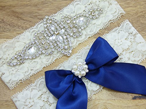 Ella Ivory Lace Rhinestone Bridal Garter, Something Blue, Wedding Garter Set