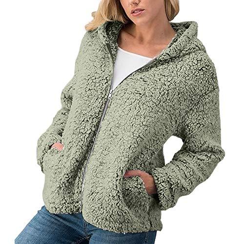 Orangeskycn Womens Casual Warm Zipper Sherpa Jacket Solid Outwear Coat Overcoat