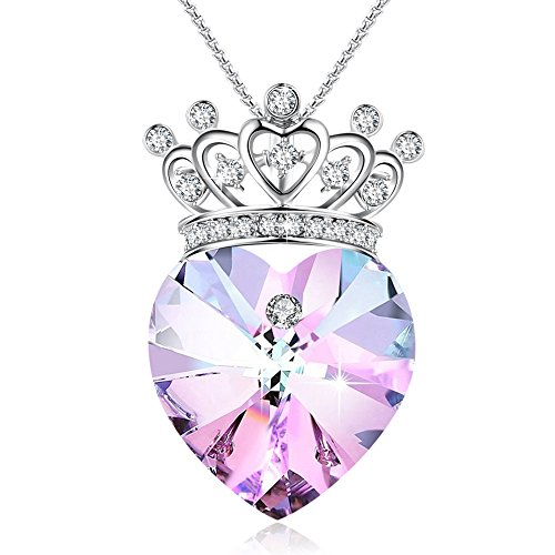 GEORGE SMITH Young Princess Crown Pendant Necklace Heart Shaped Wedding Birthday Jewelry for Girlfriend Daughter Wife, Purple Crystals from Swarovski -