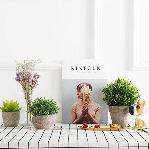 Green, Seven-Layer Velener Artificial Plants Mini Potted Grass Arrangements for Home Decor