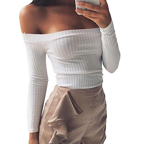 Noih Women's Long Sleeve Slim Fit Off Shoulder Rib-Knit Crop Pullover Tops