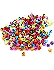 500st Smiley Face Kralen, 7mm Acryl Ronde Smiley Face Losse Spacer Kralen voor DIY Sieraden Armband Oorbel Ketting Craft Maken Benodigdheden met Elastische String
