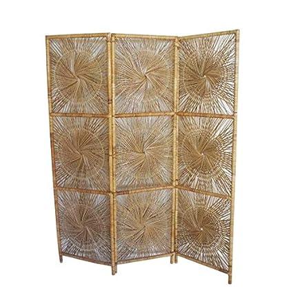 ec57e78a013b3 Image Unavailable. Image not available for. Color  rattan sunburst Vintage  Bohemian Wicker Folding Screen 3 Panel Room Divider ...