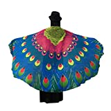 Ikevan 2017 Hot Selling Newest Women Girl Soft Fabric Peacock Wings Shawl Fairy Ladies Nymph Pixie Costume Accessory 197x125cm (06)