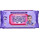 EZ Kosher Baby Wipes, UnScented 100% Polyester, Ultra Soft & Alcohol Free, Permitted for Use on Shabbos, 80 Wipes