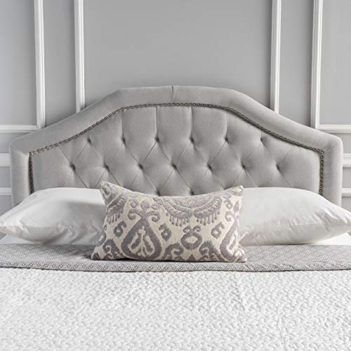 Killian Contemporary Fabric Full/Queen Headboard, Light Gray (Fabric Headboard)