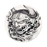 iPrint Polyester Round Tablecloth,Kabuki Mask Decoration,Hand Drawn Malevolent Face Vicious Evil Monster Blossoms Image Decorative,White Black,Dining Room Kitchen Picnic Table Cloth Cover Outdoor I
