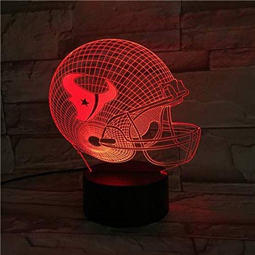 FFYYJJLEI 3D Night Light NFL Rugby Helmet USB Lamp 7 Colors Touch Bedroom Lights Atmosphere Decoration Light Christmas Family Father Gifts