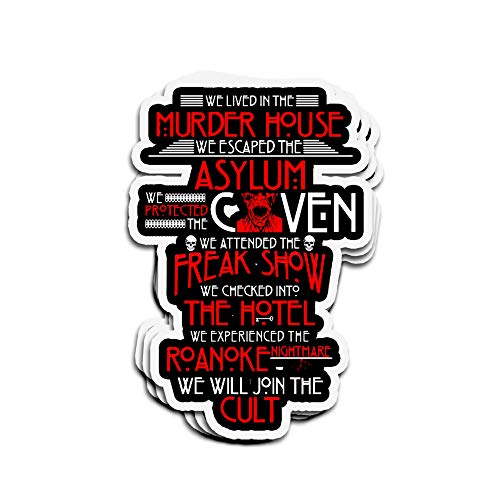 ViralTee 3 PCs Stickers We Lived in The Murder House We Escaped The Asylum 4 × 3 Inch Die-Cut Decals