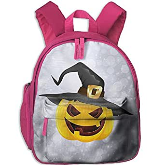 Baby Boys Girls Toddler Pumpkin Face Halloween Preschool Travel Camping Backpack Pink