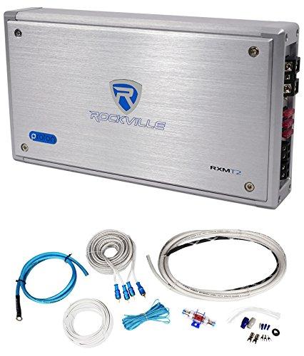 Rockville RXM-T2 Micro 2400w 2 Ch Marine/Boat Class D Amplifier 2x600W+Amp Kit