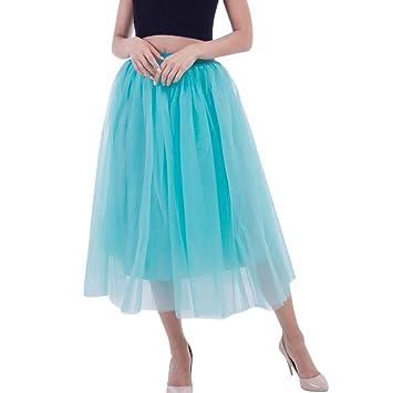 efe8911ec LuckyGirls Falda Tul de Mujer Midi Moda Vestidos Plisado Acampanada ...