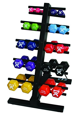CanDo 10-0579 Vinyl Coated Dumbbell, 20-piece Set with Floor Rack by Cando