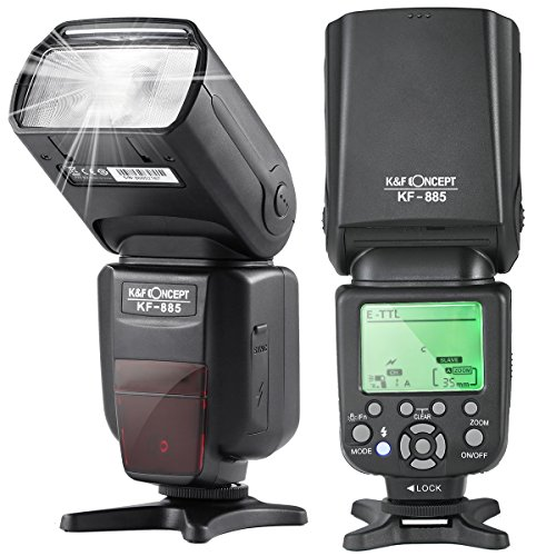 K&F Concept KF-885 TTL Speedlite Universal Flash 1/8000s HSS Wireless Master/Slave Function Compatible Canon Nikon DSLR Camera