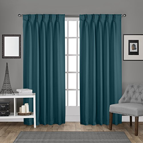 Exclusive Home Curtains Sateen Pinch Pleat Woven Blackout Back Tab Window Curtain Panel Pair, Te ...