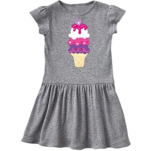 inktastic Valentine's Day Ice Cream Cone Toddler Dress 5/6 Heather Grey 2803f (Cone Baby Cream Ice)