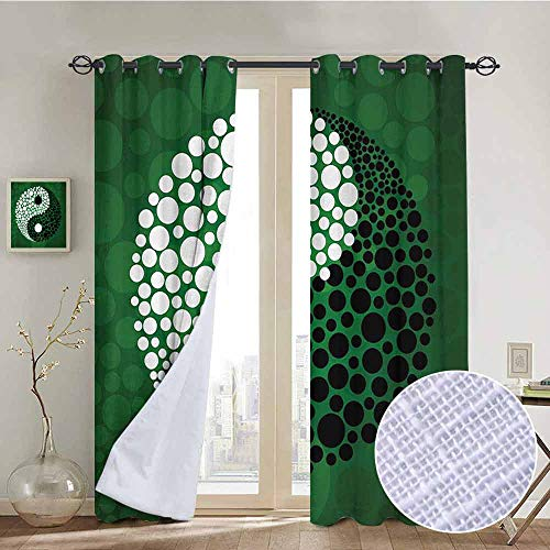 NUOMANAN Blackout Curtain Panels Window Draperies Ying Yang,Digital Made Yin Yang Form Nature Zen Themed Meditation Decor Dots Design,Green Black White,for Bedroom, Kitchen, Living Room 54