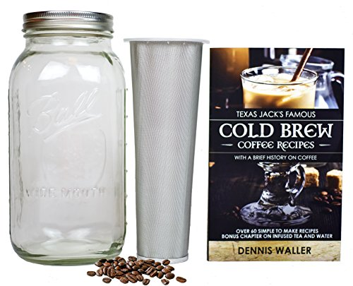Cold Brew Coffee Maker Kit |Large 2 Quart / Half Gallon| BONUS: 130pg 60+ Recipes and Instruction Book! Quality Ball Wide Mouth Mason Jar & Stainless Filter Basket. Makes Coffee, Infused Water & Tea!