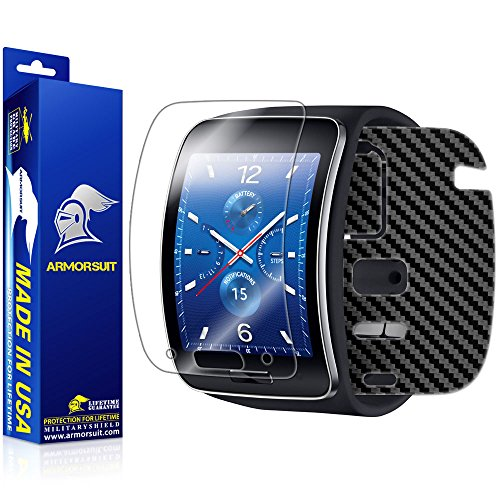 ArmorSuit MilitaryShield - Samsung Gear S Smartwatch Screen Protector + Black Carbon Fiber Full Body Skin Protector / Front Anti-Bubble Ultra HD - Extreme Clarity & Touch Responsive Shield with Lifetime Free Replacements - Retail Packaging by ArmorSuit