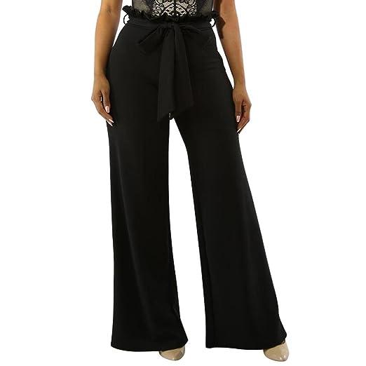 GoodLock Women High Waist Flare Pants Work Office Pants Wide-Leg Party Zip  Ruffles Trousers 37df1c863d5d