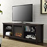 Electric Fireplace TV Stand For TVs up to 70'' - Contemporary Media Console And Heater - 4400 BTU - Assembly required (Espresso)