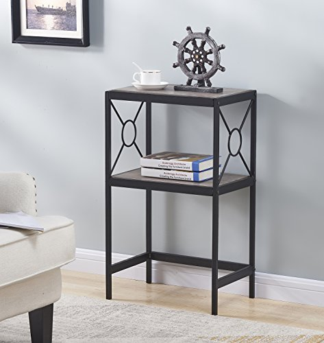 Oak Wide Side Table - Weathered Grey Oak Metal Frame 2-tier Side End Table Nightstand with Circle Design