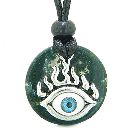 Agate Medallion - Cool Evil Eye Protection Flames Amulet Green Moss Agate Medallion Magic Powers Adjustable Necklace