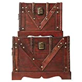 Vintiquewise(TM Old Style Treasure Chest/Box, Set of 2