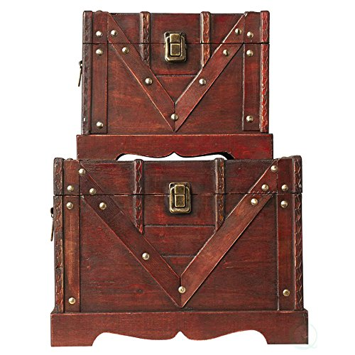 Vintiquewise(TM Old Style Treasure Chest/Box, Set of 2 by Vintiquewise (Image #2)